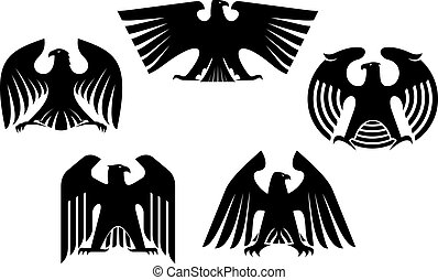 Majestic and powerful heraldic eagles set for tattoo or...