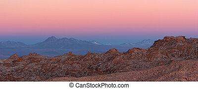 Majestic Atacama Desert sunset panorama, Chile