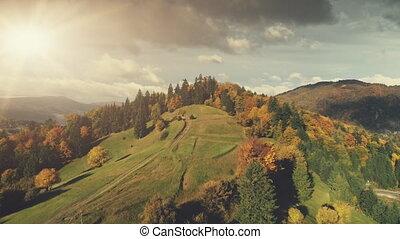 Majestic autumn mountain landscape aerial view - Majestic...