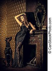 majestic - Beautiful lady with her dog in a room with ...