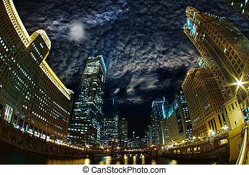 Majestic Chicago - Windy City Riverfront at Night