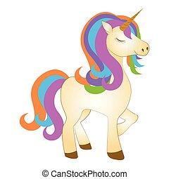 Majestic cute unicorn cartoon character. Fantasy creature. Vector illustration design