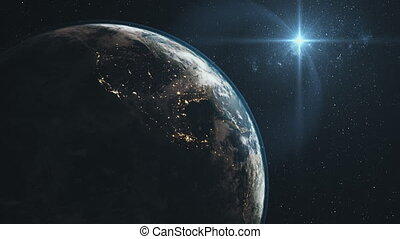 Majestic earth zoom in orbit starry background