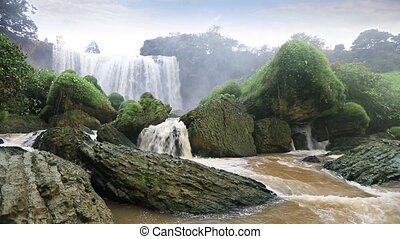 Majestic Elephant waterfall, Vietnam - Front view of...