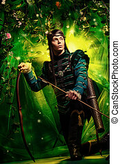 majestic elf - Portrait of a male elf with a bow and arrows...