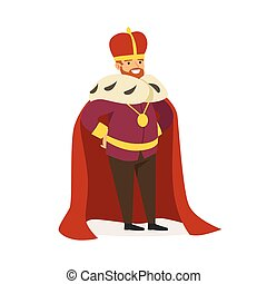 Majestic emperor in red ermine mantle, fairytale or European medieval character colorful vector Illustration