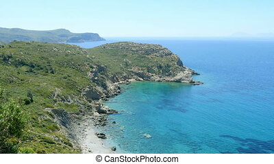 """""""majestic empty turquoise beach, high angle view, knidos,..."""