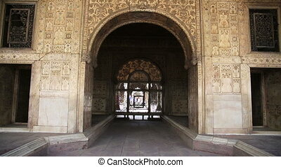 Majestic facade of Red Fort - Majestic decorated facade of...