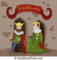 Majestic king and queen in golden crowns sitting on wooden thrones in castle, fairytale or medieval characters vector illustration in cartoon style design element for poster or banner