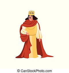 Majestic king in golden crown and red mantle European medieval character vector Illustration on a white background