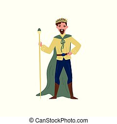 Majestic king in green cape standing with staff, fairytale character vector Illustration on a white background