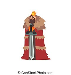 Majestic King in Red Mantle and Golden Crown, Medieval Historical Cartoon Character in Traditional Costume Vector Illustration