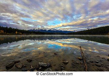Majestic lake Patricia at sunrise