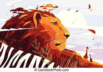 Majestic lion on safari