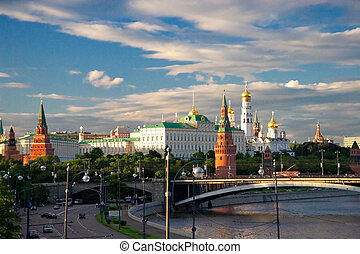 Majestic look to the Moscow Kremlin from quay of Moskva...