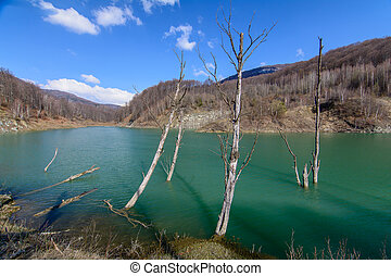 Majestic mountain lake in Romania. Horizontal view with forest green lake, bare trees over mountain landscape.