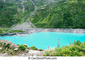 Majestic mountain lake in Switzerland.