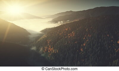 Majestic mountain slope surface haze aerial view - Majestic...
