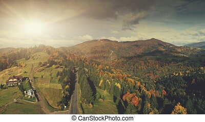 Majestic mountainous scenery multicolored wood - Majestic...