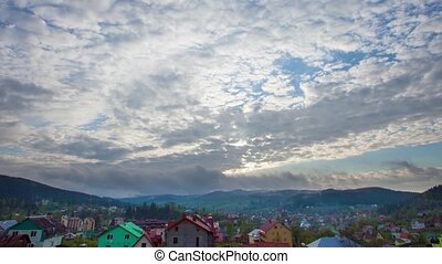 Majestic mountains landscape under morning sky with clouds. Carpathian, Ukraine, Europe. Timelapse