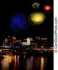 Majestic - Fireworks reflected in the Ohio River with the...