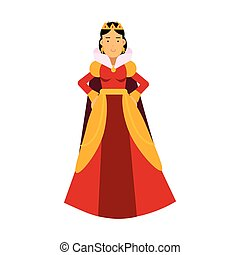 Majestic queen in red dress and gold crown, fairytale or medieval character colorful vector Illustration