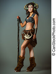 majestic - Full length portrait of a fairy female Faun with...