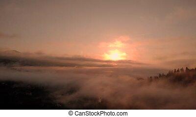 Majestic sunrise in Carpathian mountains. Foggy summer ...