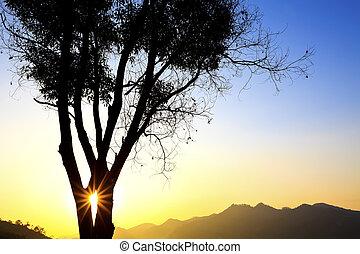 Majestic sunset in mountain landscape