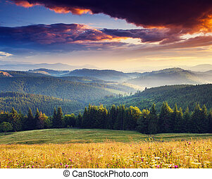 sunset - Majestic sunset in the mountains landscape. ...