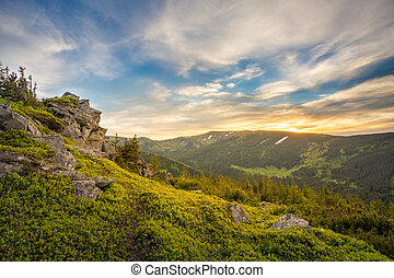 Majestic sunset in the mountains landscape