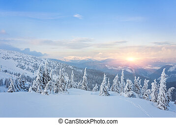 majestic sunset in the winter mountains