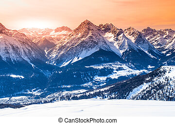 Majestic sunset in winter mountains, Austrian Alps