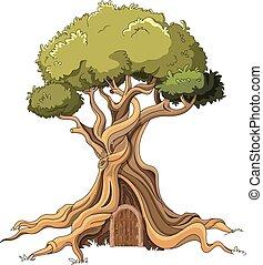 Majestic Tree - Illustration of majestic tree with door