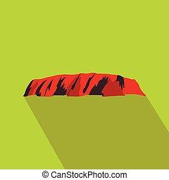Majestic Uluru icon, flat style