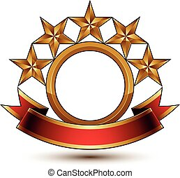 Majestic vector golden ring isolated on white background, 3d polished five golden stars. Heraldic branded symbol with festive red ribbon. Dimensional glossy decorative stars, elegant shaped blazon. Eps8.