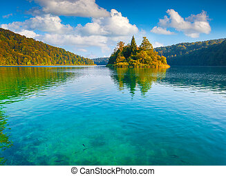 Majestic view of the Plitvice Lakes National Park. Forest...