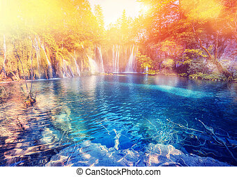 Plitvice Lakes National Park - Majestic view on lake and ...