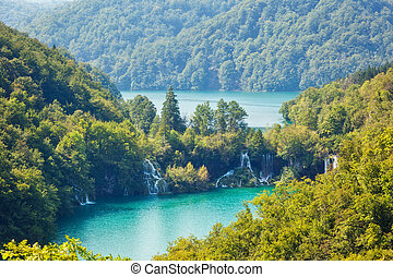 Plitvice Lakes National Park - Majestic view on turquoise ...
