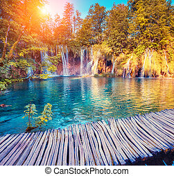 Plitvice Lakes National Park - Majestic view on turquoise...