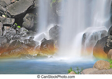 majestoso, cachoeira, com, coloridos, arco íris