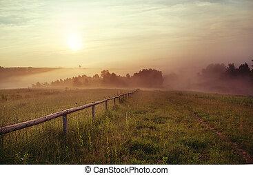 majestoso, montanhas, pôr do sol, paisagem