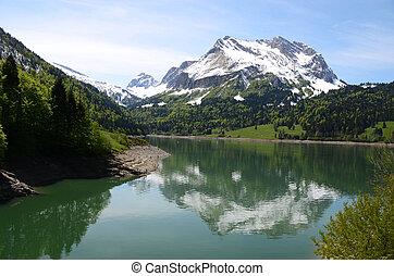 majestoso, paisagem, suíça, alpino