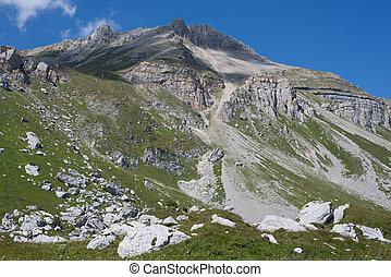 majestueus, berg, landschappen, kaukasisch, reserveren