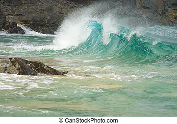 majestueus, golven, rotsen