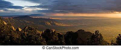 majestueus, woestijn, ondergaande zon , panorama, albuquerque, new mexico
