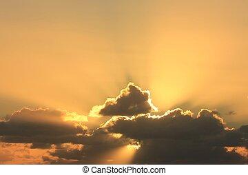 majestueux, coucher soleil