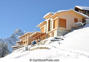 majestueux, suisse, vue., alpin