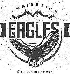 majestueux, vendange, aigle, gabarit, étiquette
