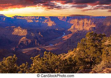 majestueux, vue, grand canyon, crépuscule